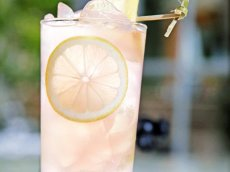 Cool off with this tequila-infused pink lemonade at Villa Azur.
