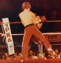 Donnie Hair vs. Bill Kase- the first full-contact event filmed for ESPN just before his First Rnd KO of Bill Kase. Don Wilson was MAIN EVENT. James Wilson promoted the show. - 1981